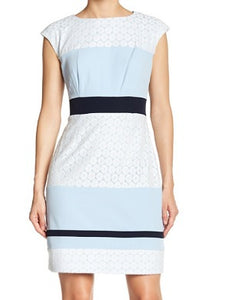 Studio One Women Sky-blue and White Laced Dress