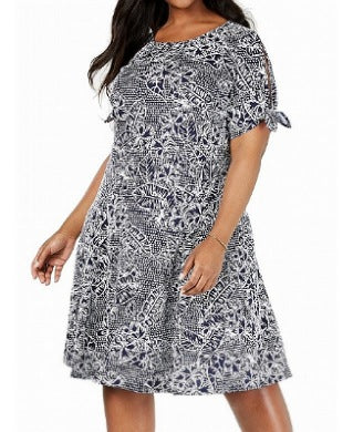 NY Collection Women Navy Blue & White Dress