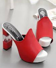 Load image into Gallery viewer, Xang Women Block Heel Red Shoes