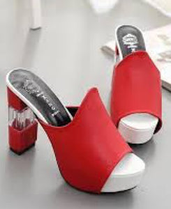 Xang Women Block Heel Red Shoes