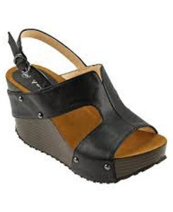 Agape Black Stud Wedge Woman Sandal