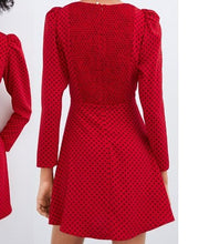 Load image into Gallery viewer, Zara Red & Black Polkadot Chiffon Dress