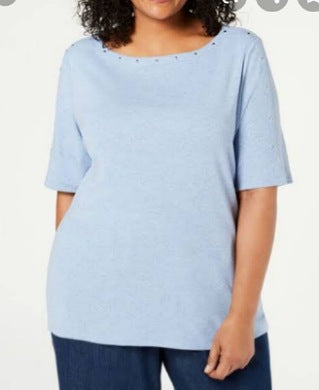 Karen Scott Blue Heather Women Top