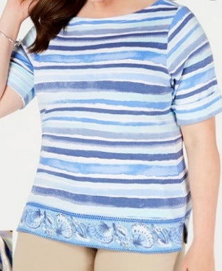Karen Scott Indigo Stripped Women Top