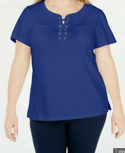 Karen Scot Royal Blue Lace up Women Top