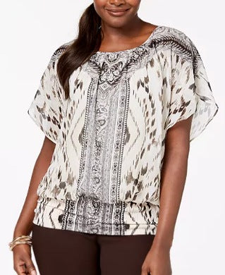 J.M Collection Chiffon Printed Women Top