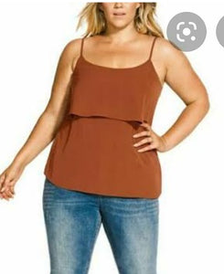 City Chic Brown Sleeveless Top