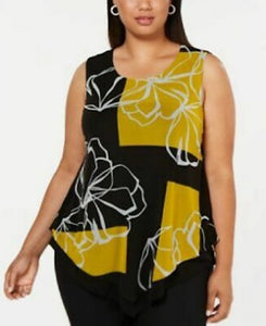 Alfani Black and Yellow Patterned Women Top