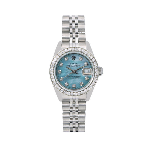 Rolex Oyster Perpetual Ladies Diamond Watch, DateJust 69240 26mm, Blue Diamond Dial With 0.90 CT Diamonds