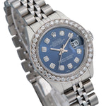 Rolex Datejust Diamond Watch, 69240 26mm, Blue Diamond Dial With Stainless Steel Bracelet