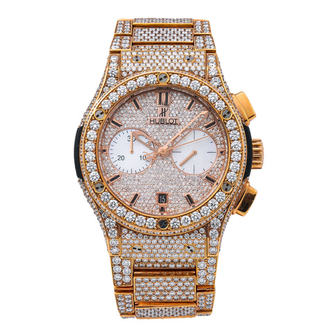 Hublot Classic Fusion Chronograph 520OX1180 45MM Champagne Diamond Dial With 31.75 CT Diamonds