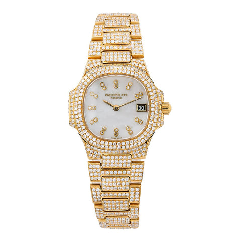 Patek Philippe 27MM White Diamond Dial With 11.75 CT Diamonds