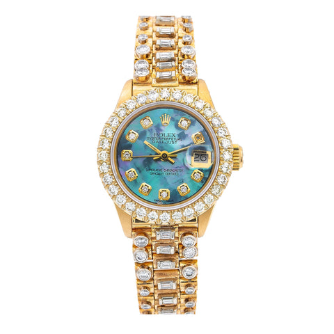 Rolex Lady-Datejust 26MM Blue MOP Diamond Dial With 7.25 CT Diamonds