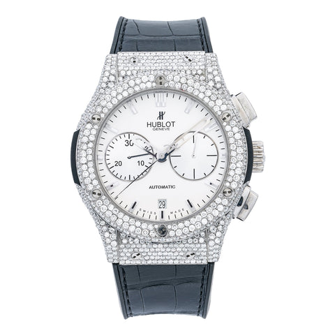 Hublot Classic Fusion Chronograph 45MM White Dial With 9.50 CT Diamonds