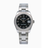 Rolex Datejust Ladies Diamond Watch, 178384 31mm, Black Dial Factory diamond Bezel With Stainless Steel Bracelet