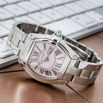 Cartier Roadster W62016V3 36mm Pink Dial With Stainless Steel Bracelet