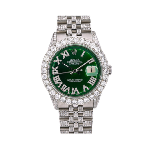 Rolex Datejust Diamond Watch, 36mm, Green Diamond Dial Diamond Jubille Bracelet With 8.25 CT Diamonds