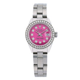 Rolex Oyster Perpetual Ladies Diamond Watch, DateJust 6924 26mm, Pink Diamond Dial With Stainless Steel Bracelet