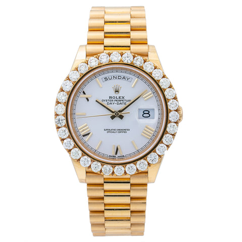Rolex Day-Date 228238 40MM White Dial With 6.00 CT Diamonds