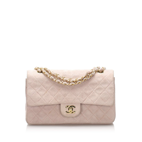 Chanel Pink Classic Small Suede Leather Double Flap Bag
