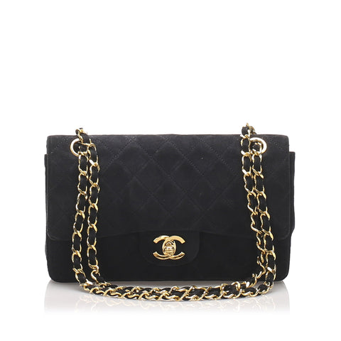 Chanel Black Classic Small Suede Double Flap Bag