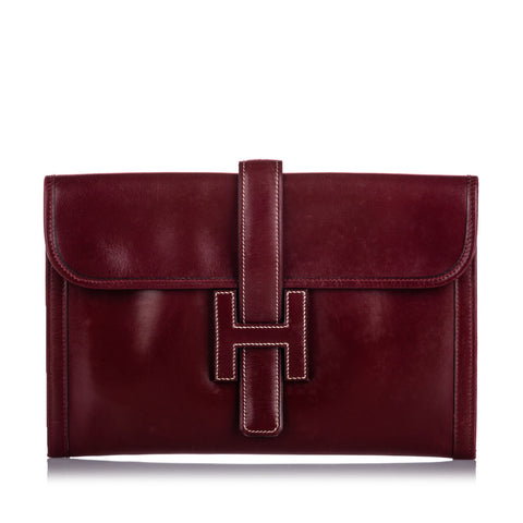Hermes Red Leather Jige PM Clutch Bag