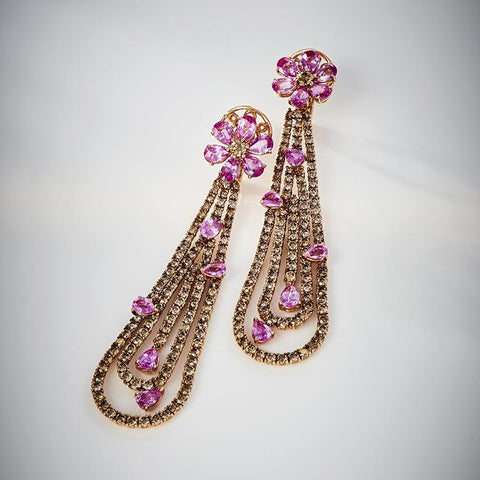 Luxury Pink Sapphire Earrings with Champagne Diamonds in 18K Rose Gold