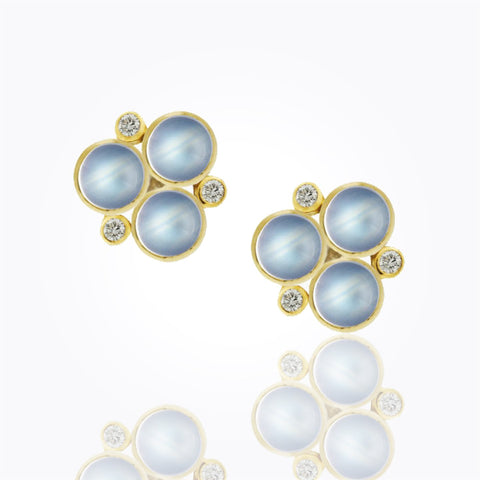 Luxury Temple St. Clair 18k Classic Three Stone Post Earrings with Royal Blue Moonstone and Diamonds