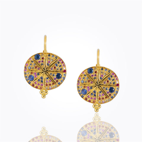 Luxury Temple St. Clair 18K Pavé Sorcerer Earrings with Mixed Colored Sapphires
