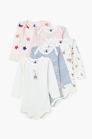 Petit Bateau 5-Pack Baby Girl Bodysuits - Marshmallow