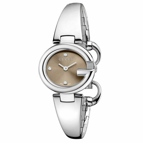 New Gucci Ssima Marrone Brown Dial Stainless Steel Small Women's Watch YA134506