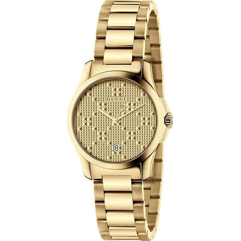 Gucci G-Timeless Gold Tone Stainless Steel 27mm Women's Quartz Watch YA126553