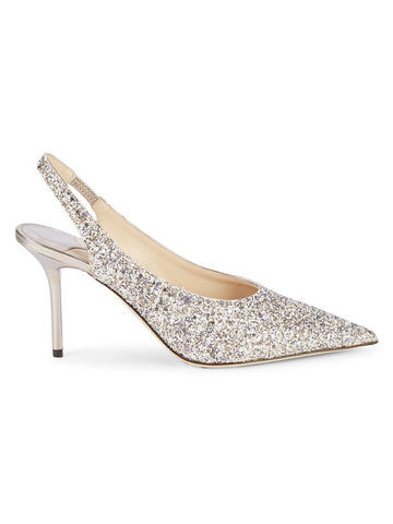 Jimmy Choo Glitter Leather Slingback Pumps
