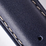 Leather Strap - Dark Blue/White