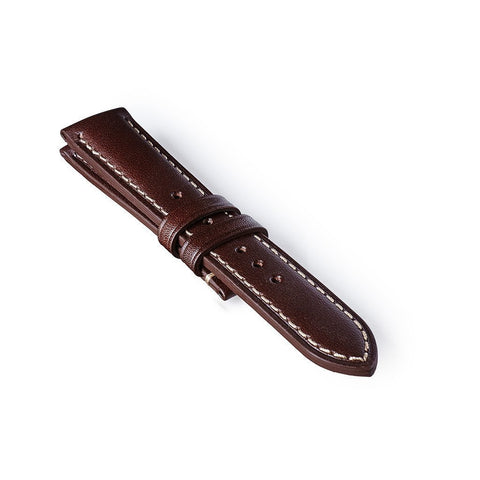 Leather Strap - Dark Brown/White
