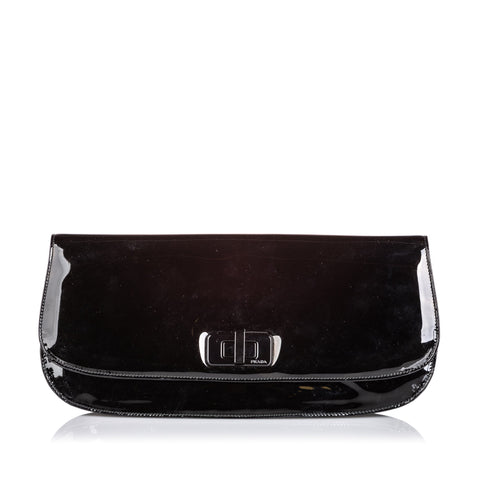 Prada Black Patent Leather Clutch Bag