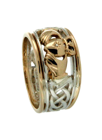 Claddagh Ring Diamond Set Heart with Gold Rails