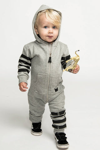 Munster Kids Cruz All In One Baby Boys Jumpsuit - Grey Marle