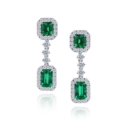 Luxury Signature 18k White Gold Earrings With Emeralds And Diamonds