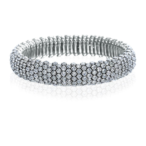 Luxury Signature 18K White Gold Stretch Bracelet With Diamonds
