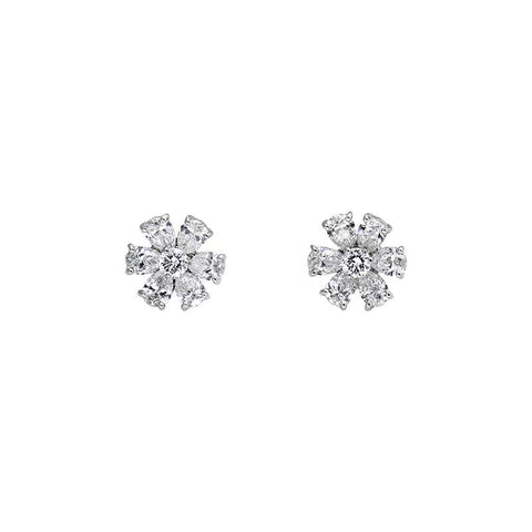 Luxury Signature Collection Diamond Flower Earrings in 18k White Gold