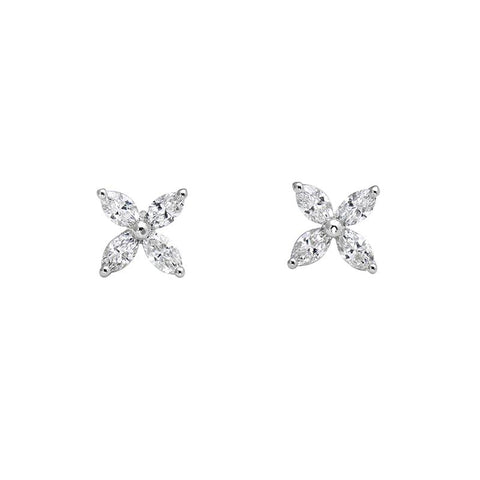 Luxury Signature Collection Marquise Diamond Earrings in 18k White Gold
