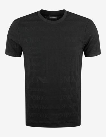 Black All-Over Jacquard Logo T-Shirt