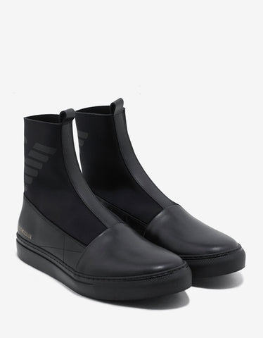Black Leather & Neoprene Boots