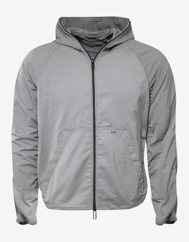 Grey Hooded Jacket with Bag Attachment