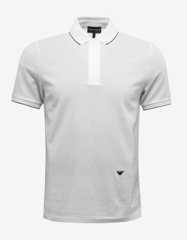 White Logo Embroidery Polo T-Shirt