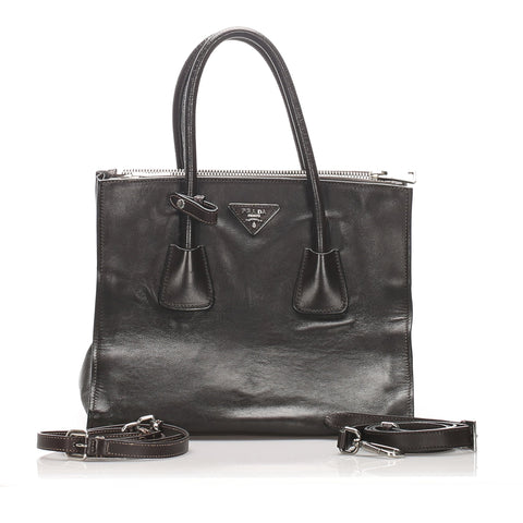 Prada Black Leather Twin Pocket Satchel
