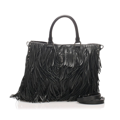 Prada Black Leather Fringe Satchel