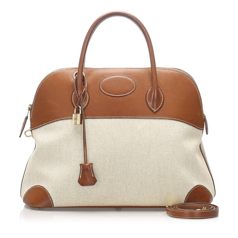 Hermes Brown Canvas Bolide 35
