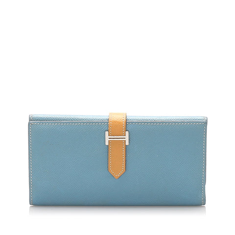 Hermes Blue Epsom Bearn Long Wallet